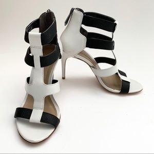 BCBGMaxAzria Black and White Sandal Heel Size 6